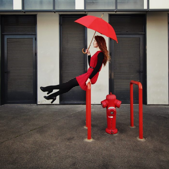 le parapluie long rouge